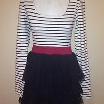 Forever 21 Black & White Stripe 90's Alternative Indie Retro Style Dress Sz M Photo