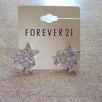 Forever 21 Bling Stars Triple Vintage Studs Shine Earrings Charm Mature Nice Photo