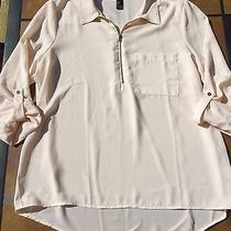 Forever 21 Blouse Nude Blush Large Top Zipper Cuffed Rolled Sleeve Photo