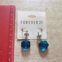 Forever 21 Blue Hexagon Crystal Bling Simple Earrings Dangle Elegant Mature New Photo