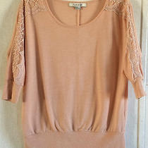 Forever 21 Blush Lace Trim Sweatshirt Dolman 3/4 Sleeve Floral Pink Scoop Neck L Photo