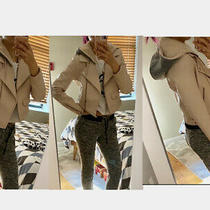 Forever 21 Blush Light Pink Faux Leather Moto Jacket Shearling Hoodie Grey Zip S Photo