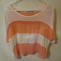 Forever 21 Blush Peach White Sheer Colorblock Stripe Crop Obey Sexy Top M Photo