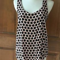 Forever 21 Blush Pink Dot and Silver Zipper Detail Tank Top Front Pocket Size S Photo