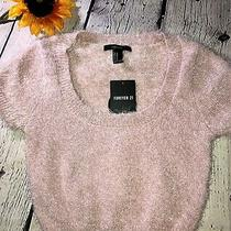 Forever 21 Blush Pink Fuzzy Short Sleeved Sweater sz.m Nwt Photo