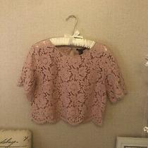 Forever 21 Blush Pink Lace Crop Top Blouse Size Large Beautiful Photo