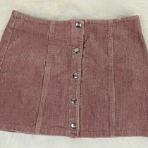 Forever 21 Blush Pink Mini Corduroy Button Snap Front Skirt Small S/p S Photo