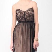 Forever 21 Blushing Mesh Eyelash Lace Sheer Black Dress Nude Pink M Medium Photo