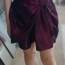 Forever 21 Burgundy Wine Strapless Corset Bustier Asymmetric Peplum Bow Dress M Photo