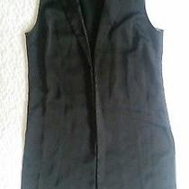 Forever 21 Contemporary S Solid Black Long Shawl Open Sleeveless Cape Cardigan  Photo