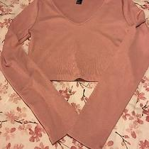 Forever 21 Cropped Blush Pink Long Sleeved Top Size Large Photo