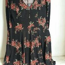 Forever 21 Dress Floral Black N Red Size S Uk8 to 10 Photo