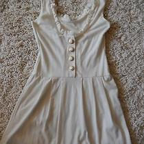Forever 21 Dress Ivory No Sleeves Ruffles and Buttons Mini Skirt Small  Photo