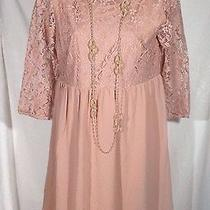 Forever 21 Dress Pink Blush Lace Top and Sleeves Mini Very Pretty Size Medium Photo