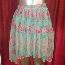 Forever 21 Exclusive Accordion Pleated a Line Skirt Teal Pink Floral Flower Blue Photo