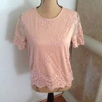 Forever 21 Exclusive Lace Pink Blush Top New Medium Scallop Trim Rare Sold Out Photo