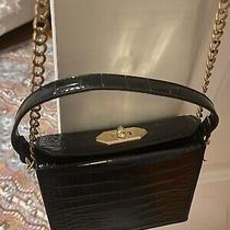 Forever 21 Faux Croc Crossbody/clutch in Black With Gold Chain Strap Photo