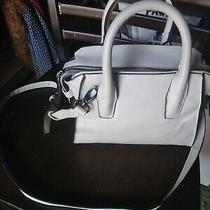 Forever 21 Faux Leather Mini Tote Bag Light Grey/ Off White Photo