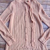 Forever 21 Juniors Size Small Blush Pink Button Up Tie Collar Long Sleeved Shirt Photo