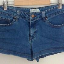 Forever 21 Juniors Waist Size 29 Solid Blue Jean Short Shorts Photo