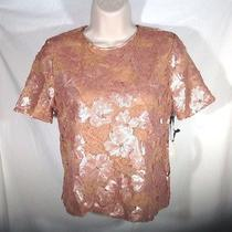 Forever 21 Lace Mini Shirt W Floral Sequins Blush Pink Short Sleeve Fully Lined Photo