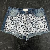 Forever 21 Lace Shorts Jean Denim Distressed White Blue Size 26 A23 Photo