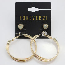 Forever 21 Large Round Hoop Gold Cordage Blue Heart Knot Dangle Earring Set Lot Photo