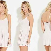 Forever 21 Light Pink Blush Ribbed Spaghetti Strap Skater Short Mini Dress Sz M Photo