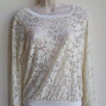 Forever 21 Long Sleeve Floral See Through Blouse Size Small  Photo
