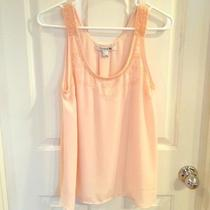 Forever 21 Love 21 Peach Blush Beaded Chiffon Tank Top S Nwot Photo
