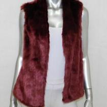 Forever 21 Maroon Red Faux Fur Satin Lined Open Front Sleeveless Vest Jrs Sz L Photo