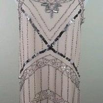 Forever 21 Medium Dress Sleeveless Shift Blush Peach Beads Sequins New Photo