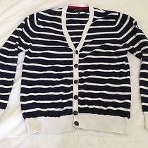 Forever 21 Mens Size Large Cardigan Navy and White-Flawless Photo