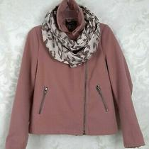 Forever 21 Moto Style Pea Coat. Blush Pink Color. Plus Free Scarf Size S Photo