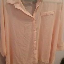Forever 21 One Size Light Pink Blush Oversized Chiffon Top  Photo