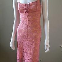 Forever 21 Pink Lace Corset Lace Up Slip Dress Nightie Teddy Lined Lacey Xs Photo