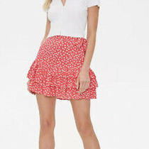 Forever 21 Pink White Floral Tiered Flounced Ruffled Mini Skirt S New Nwt Photo