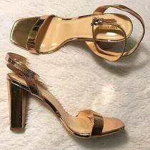 Forever 21 Rose Gold Metallic Strappy Platform Block Square Toe Heels 10 10.5 Photo