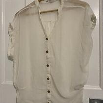 Forever 21 Sheer Blouse Shirt Size Small S Vintage Gold Buttons Sleeveless Excon Photo