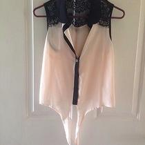 Forever 21 Sheer Blush Pink Top Black Lace Button Front S Small New Photo
