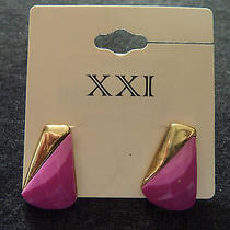 Forever 21 Shocking Pink Geometric Triangle Gold Studs New Mature Charm Earrings Photo