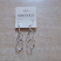 Forever 21 Silver Curl Long Drop Twist Hollow Dangle Large Elegant Earring New Photo