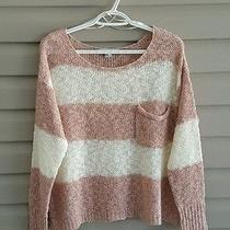 Forever 21 Size M Cream and Blush Pink Striped Open Knit Long Sleeve Sweater Photo