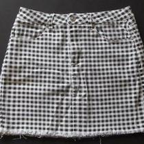 Forever 21 Size Small Black and White Gingham Check Frayed Hem Mini Skirt Photo