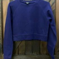 Forever 21 Size Small Blue Long Sleeve Pullover Crew Neck Cropped Sweatshirt Photo