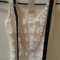 Forever 21 Sleeveless White Blouse With Pearl Necklace Size S Nwt Photo