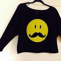 Forever 21 Smiley Face Mustache Black Crop Lighweight Pullover Top Size L Nwt Photo