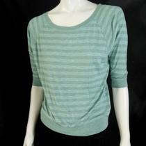 Forever 21 Striped Rayon Dolman Top Blue Aqua Gray Batwing Loose Sweater Shirt S Photo