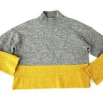Forever 21 Sweater Womens Size Large Gray & Yellow Mock Neck Pullover Sweater  Photo