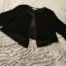 Forever 21 Sz Xs Black Gold Beaded Open Front Boho Gypsy Vest Shaw Sheer Top Nwt Photo